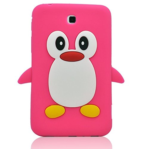 Tsmine Samsung Galaxy Tab 3 7.0-inch SM-T217 T217A T217S T217R T210R T2105 Kids Edition (2013 Model) Cartoon Case, Cute 3D Penguin Animal Soft Silicone Rubber Back Cover Case for Kids- Hot Pink
