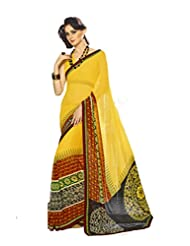 AG Lifestyle Yellow Georgette Saree With Unstitched Blouse SNS224B