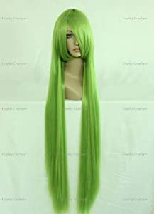 CosplayerWorld Cosplay Wigs Code Geass: Lelouch of the Rebellion C.C Wig For Convention Party Show Golden Green 80/100cm 380g WIG-026b1