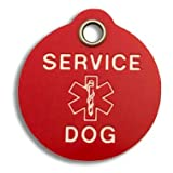 Pet ID Tag - Service Dog - Rugged Red Plastic Tag with Service Dog on Front, Your Custom Engraving on Back! Available in 3 sizes!