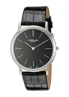 buy Stuhrling Men'S 601.33151 Ascot Swiss Quartz Ultra Thin Black Alligator-Embossed Leather Strap Watch