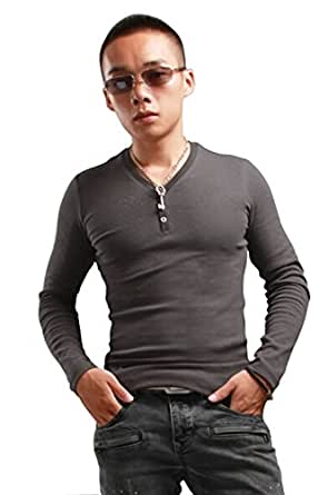 Hot Sale V Neck Tight T Shirt For Men Fashion Long Sleeve