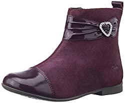 Clarks Girls Dolly Dora Inf Wine Suede Leather Boots - 8.5 kids UK/India (26 EU)