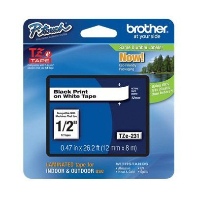 3 Pack Brother Laminated Black on White Tape (TZe231) , LABELS, PTOUCH by Brother (Brother Tze231 Tape compare prices)