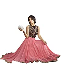 New Arrival Pink Georgette Long Anarkali Dress With Semi Stitched Free Size