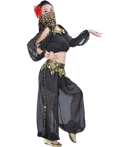 AvaCostume Belly Dance Tops Bloomers and Veil Indian Dance Costume Sets