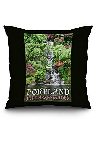 Portland Japanese Garden Koi Pond And Falls 20x20 Spun Polyester Pillow Custom Border