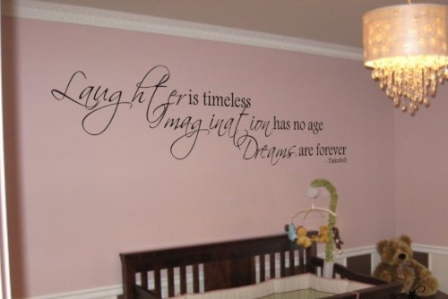 "Tinkerbell Quote ""Laughter Is Timeless"" Vinyl Wall Decal Decor Sticker front-451975"