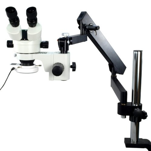 Omax 7X-45X Zoom Articulating Arm Binocular Stereo Microscope With Vertical Post And 54 Led Ring Light