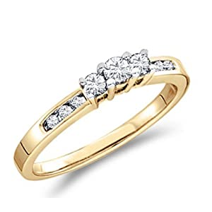Three Stone Diamond Ring 14k Yellow Gold Engagement (0.26 Carat), Size 5.5
