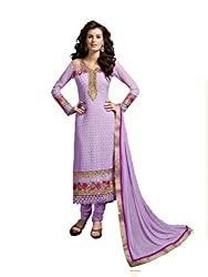 FadAttire Embroidered Pure Bambr Suit, Semi Stitched Suit-Purple-FAKM01