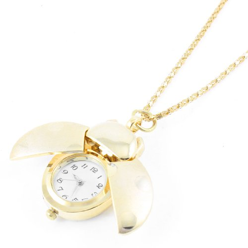 Ladies Arabic Numerals Display Gold Tone Ladybug Pendant Necklace Watch front-789489