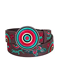 Desigual Women's Brown Belt with Bright Flower Print and Colorful Buckle, Fuchsia Luxor, 90