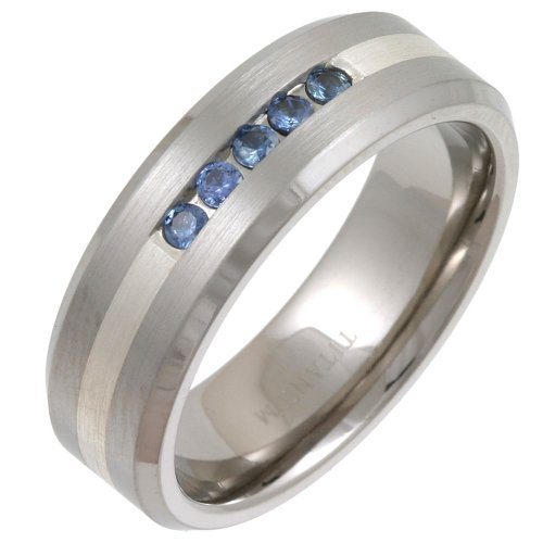 Titanium & Silver TI4815-7 5xSap Five Sapphire Ring