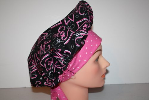 Scrub Cap Surgical Scrub Hat Chemo Hat Tie Back Bouffant Style - Black Pink Love chemo skullies satin cap bandana wrap cancer hat cap chemo slip on bonnet 10 colors 10pcs lot free ship