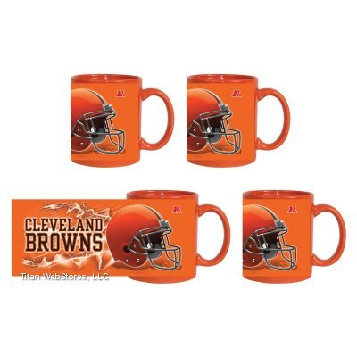 Nfl Browns Coffee Cups (4) | Cleveland Browns Logo Mugs - Set Of 4