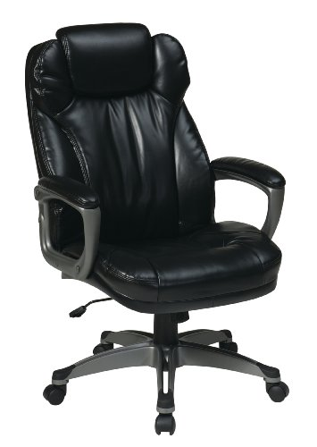Work Smart ECH85807-EC3 Executive Eco Leather Chair with Pad