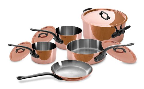 M250c 9 piece 2 5mm copper cookware set wih stainless interior lining