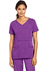WonderWink Women's Scrubs Four Way Stretch Raglan Sleeve Mock Wrap Top