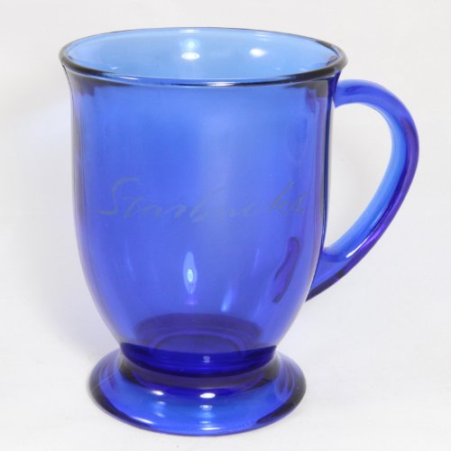 Starbucks Coffee Blue Glass Pedestal Footed Mugs Etched Script Anchor Hocking, Made In The Usa.