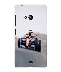 Fuson 3D Printed Racing Car Designer Back Case Cover for Microsoft Lumia 540 - D841