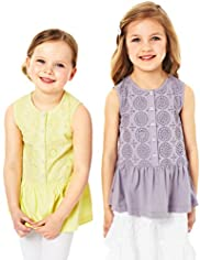 2 Pack Autograph Pure Cotton Cut-Out Tops