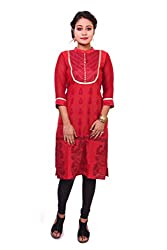 Indibelle Women Red Hand Block Printed Emboidered Cotton 3|4th Sleeve Kurti