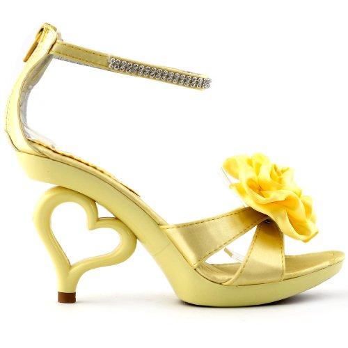 Visualizza storia da sposa fiore rimovibile giallo chiaro alla caviglia cinturino Sandali scarpe, SM33101LY40, 40, giallo chiaro