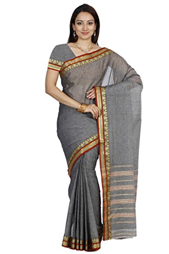 Mimosa Women's Traditional Cotton Silk Saree With Blouse Color:Grey(3328-HMK-14-GREY )  available at amazon for Rs.649