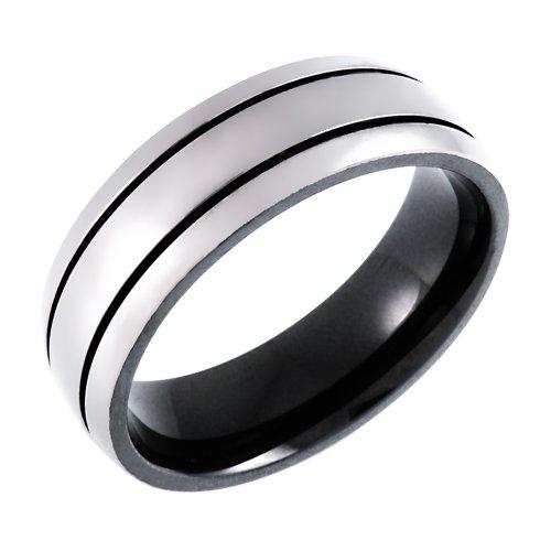 Men's Titanium 7mm with Black Plating Wedding Band , Size 10