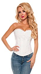 Starline Women's Girls Night Chiffon Cup Sexy Waist Cincher Bustier Corset, White, Small