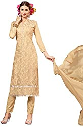 Manmauj Women's Cotton Unstitched Dress Material (MM10048DCHK, Beige)