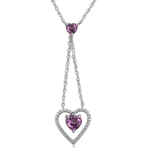 Sterling Silver Heart Amethyst and Diamonds Y Neck Pendant Necklace, 18