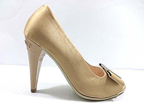 scarpe donna RICHMOND 35 decoltè beige oro raso WH897