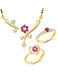 Meenaz Mangalsutra Jewellery Set Combo Gold Plated Cz In American Diamond For Girls &Women Com120