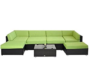 Deluxe Outdoor Patio PE Rattan Wicker 7 pc Sofa Sectional / Chaise Lounge Furniture Set - Green Cushions by HomCom
