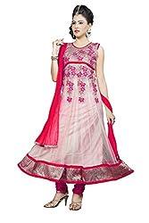 Angel Garments Red Nayloan net Anarkali Salwar Suit(Red)