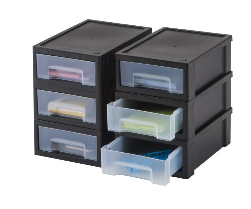 Iris 6 piece desktop stacking drawer small blackclear for Small clear desk