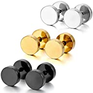 Silver Black Gold 3 Pairs Stainless S…