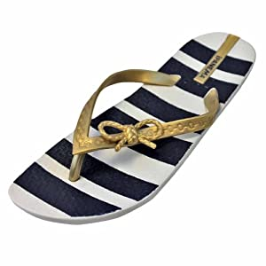 Ipanema White Navy Blue & Gold Marine Nautical Striped Flip Flops Size 6