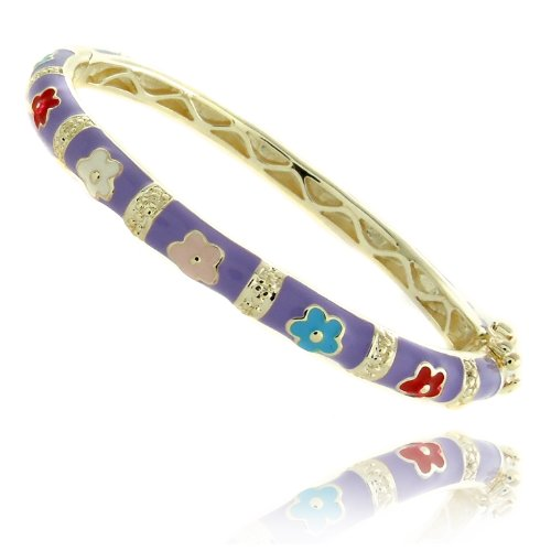 Lily Nily 18k Gold Overlay Lavender Enamel Multi Colored Flower Design Children's Bangle