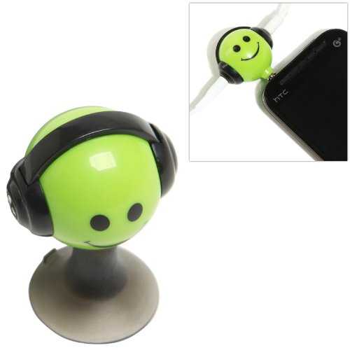 Green Smiley Face Design 3.5Mm Headphone 2-Way Splitter Adapter And Suction Cup Stand For Portable Media Players / Smart Phones