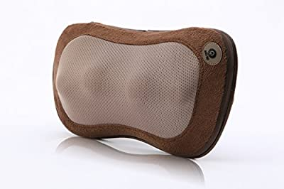 iLIVING Rechargeable Neck and Back Kneading Massager Shiatsu Pillow with Heat, Brown