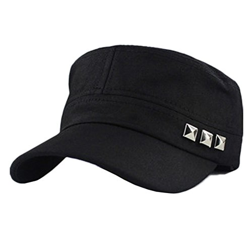 Women Men Cotton Twill Corps Army Flat-top Cap Hat with Adjustable Belt-rivet-black