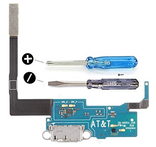 Samsung Galaxy Note 3 N900A AT&TDock Connector Charging Port Micro USB Flexkabel adhesive underside incl 2x screwdriver for installation by MMOBIEL (Galaxy Note 3 At T compare prices)