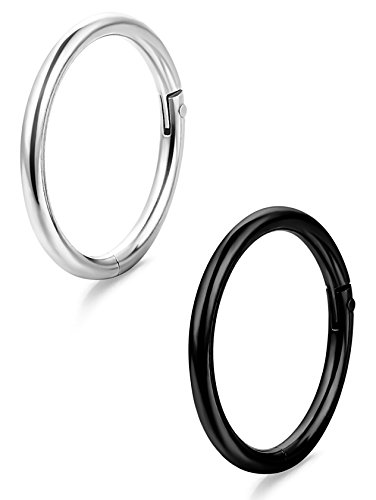 ORAZIO 2Pcs 16G Stainless Steel Nose Lip Ring Body Piercing Seamless Clicker Ring (Lip Rings 16 Gauge Studs compare prices)