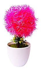 Artificial Bonsai Wild Plant with Pot (21 cm, Pink, Green)