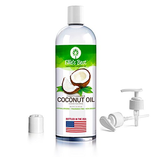 Fractionated Coconut Oil - Pure Expeller Pressed - Carrier Oil for Essential Oils Aromatherapy & Massage - Therapeutic Grade - MCT - USA Bottled - Lg 16oz - Pump Dispenser Cap & Recipes (Aroma Free Coconut Oil compare prices)