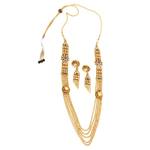 Gold & More GoldPlated Beads & kundan Necklace Set with Matching Earrings For Women (yellow)