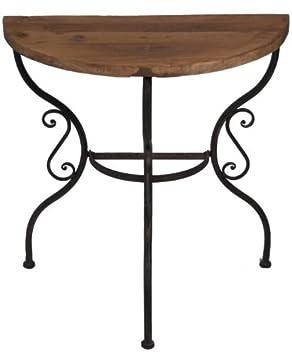 tisch beistelltisch halbrund platte aus altem ulmenholz 77922 dee24. Black Bedroom Furniture Sets. Home Design Ideas